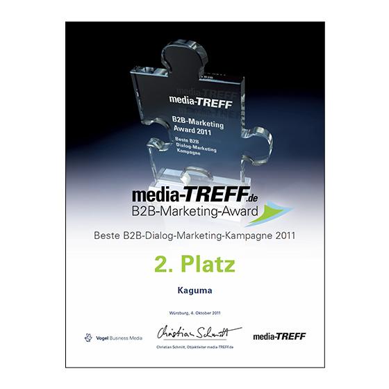 media-TREFF.de B2B-Marketing-Award 2. Platz Kaguma
